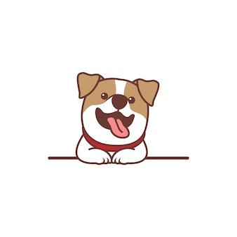 Zabawny pies jack russell terrier uśmiechnięty na ścianie kreskówki