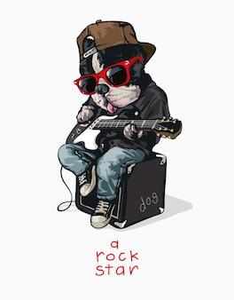 Zabawny pies kreskówek w okularach przeciwsłonecznych z ilustracją gitary elektrycznej