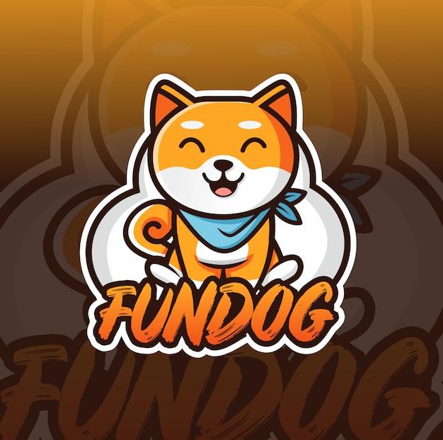 Zabawny pies logo maskotka