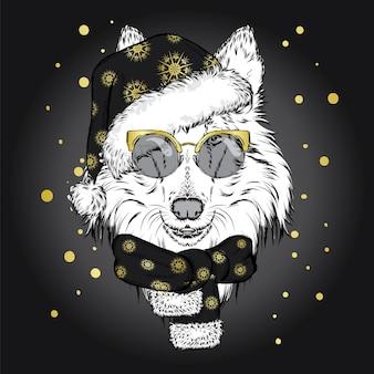 Zabawny pies w świątecznej czapce i szaliku.