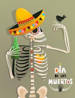 Zabawny plakat ze szkieletem i ptakiem na meksykański dzień zmarłych