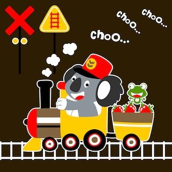 Zabawny pociąg kreskówki