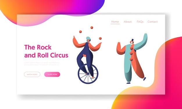 Zabawny pokaz cyrkowy ze stroną docelową clown unicycle acrobat. kobieta rowerzysta kuglarz równowaga. scena świątecznego karnawału. witryna lub strona internetowa people character performer. ilustracja wektorowa płaski kreskówka