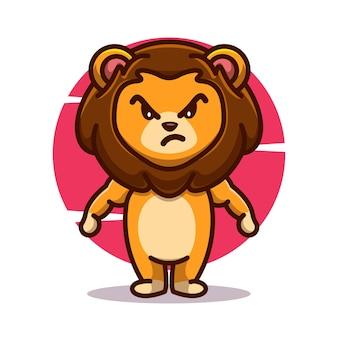 Zabawny, potężny, zły lew, maskotka, ikona, wektor, ilustracja, płaski, rysunek, koncepcja