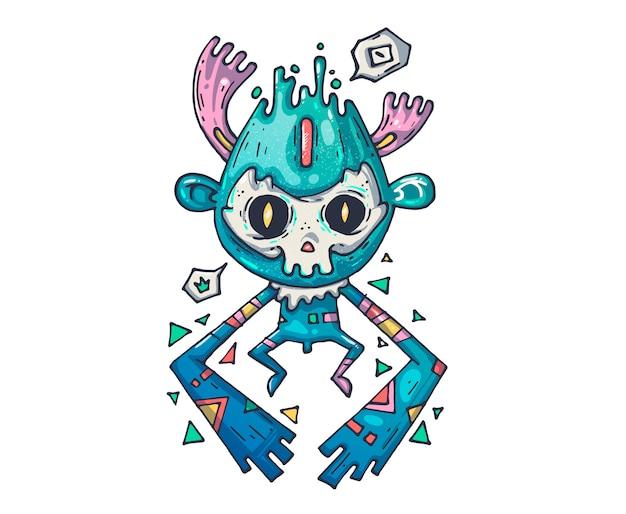 Zabawny potwór. kreskówki ilustracja dla druku i sieci
