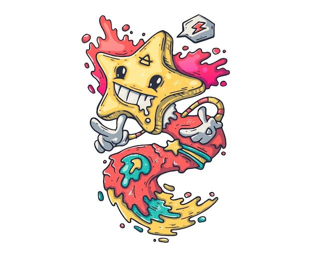 Zabawny potwór z gwiazdą. kreskówki ilustracja dla druku i sieci