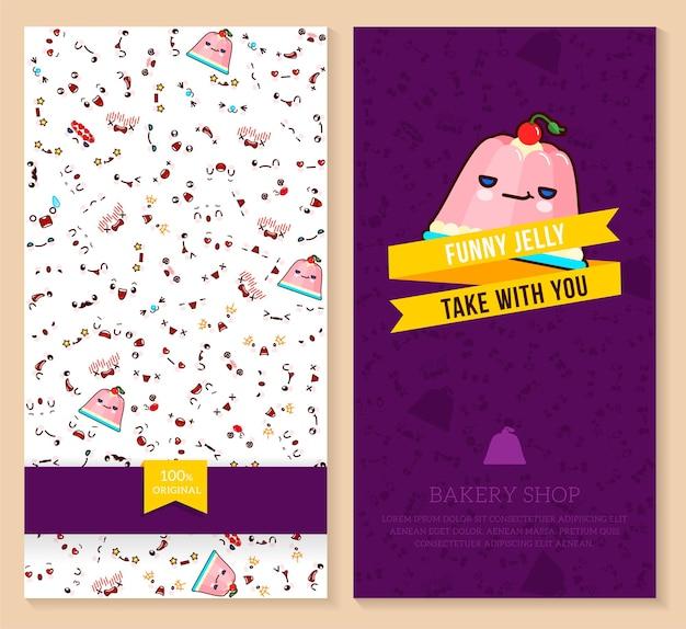 Zabawny projekt biletów z wzorem emocji kawaii i słodką galaretką