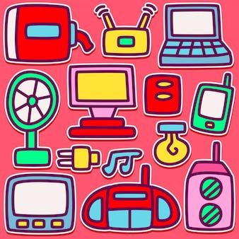 Zabawny projekt doodle artykułów elektronicznych