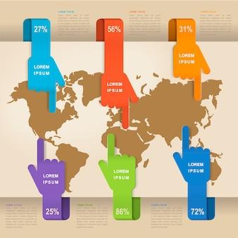 Zabawny projekt infografiki z elementami kształtu dłoni
