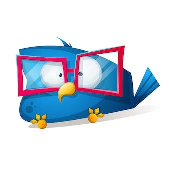 Zabawny ptak w okularach