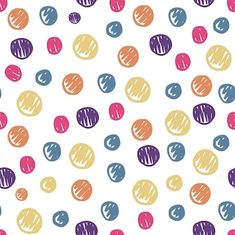 Zabawny ręcznie rysowane koła kształt wzór. kolorowe kropki tło. śliczne tapety. prosta konstrukcja do tkanin, nadruków na tekstyliach, owijania. ilustracja wektorowa