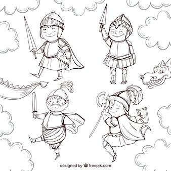 Zabawny rysunek zestaw rycerzy