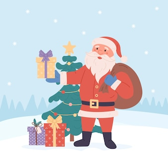 Zabawny santa z prezentami boże narodzenie kartkę z życzeniami tło plakat ilustracji wektorowych