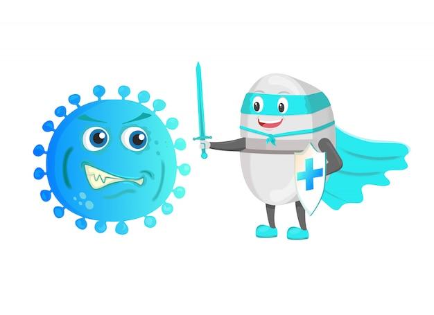 Zabawny silny strażnik pigułek z mieczem i tarczą walczy z bakteryjnym wirusem mikroorganizmów.