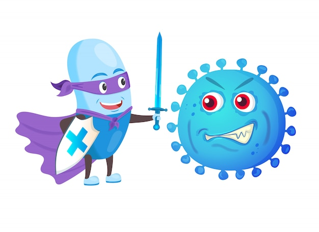 Zabawny silny strażnik pigułek z mieczem i tarczą walczy z wirusem bakteryjnym.