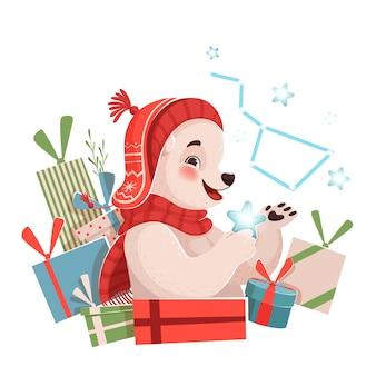 Zabawny słodki miś świąteczny trzymający gwiazdę i uśmiechnięty obok prezentów. boże narodzenie ilustracja na białym tle