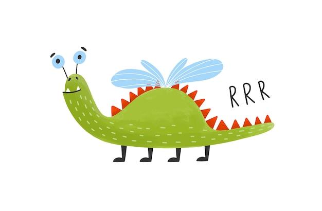 Zabawny, szczęśliwy potwór, obcy, mutant. śliczne fantastyczne lub bajkowe stworzenie ze skrzydłami.