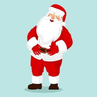 Zabawny szczęśliwy znak świętego mikołaja. wesołych świąt. kartka świąteczna.