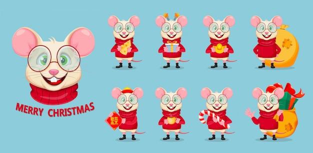 Zabawny szczur na wesołych świąt
