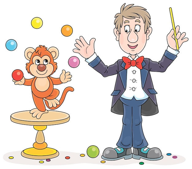 Zabawny trener zwierząt cyrkowych ze swoją małą małpką żonglującą kolorowymi kulkami