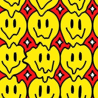 Zabawny trippy uśmiech topią się ikona sztuki pikseli twarz. wektor doodle kreskówka projekt graficzny ilustracja. trippy uśmiech twarzy, psychodeliczny, techno pixel art, 8-bitowy, 16-bitowy nadruk w stylu plakatu, koncepcja t-shirt