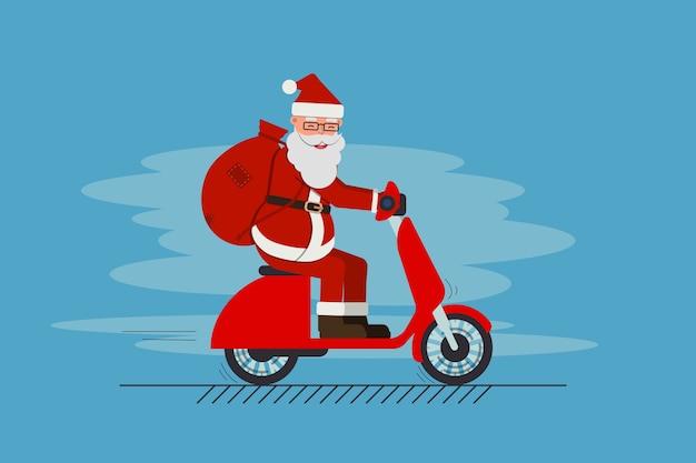 Zabawny uroczy święty mikołaj jedzie na skuterze z torbą pełną prezentów. wesołych świąt i szczęśliwego nowego roku. zbiory .