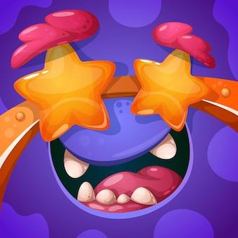 Zabawny, uroczy, szalony charakter potwora. halloweenowa ilustracja.