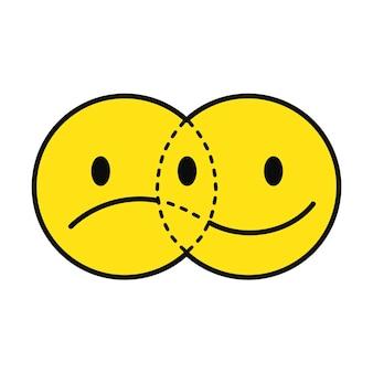 Zabawny uśmiech i smutna twarz przechodząca przez t-shirt. wektor linii doodle kreskówka graficzny ilustracja projektowanie logo. na białym tle. uśmiech, smutna twarz nadruk na plakat, koncepcja t-shirt