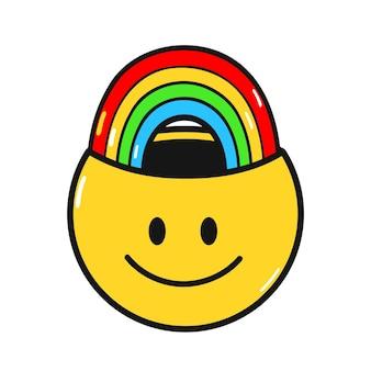 Zabawny uśmiech twarz z tęczy wewnątrz. wektor ręcznie rysowane doodle styl lat 90-tych charakter ilustracja kreskówka. pozytywny uśmiech twarz, lek przeciwdepresyjny, tęcza, koncepcja kreatywny umysł