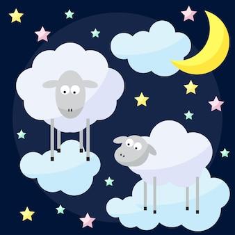 Zabawny wektor noc tło z kreskówki księżyc, chmury, gwiazdy i owce, symbol nowego roku owiec na ciemnej okładce