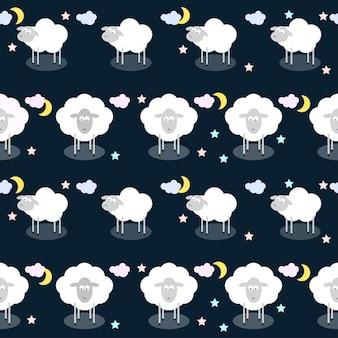Zabawny Wektor Wzór Bez Szwu Tła Z Chmurami, Gwiazdami I Uroczymi Owcami W Otwartej Przestrzeni Premium Wektorów