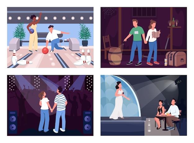 Zabawny wieczór daty płaski kolor zestaw ilustracji