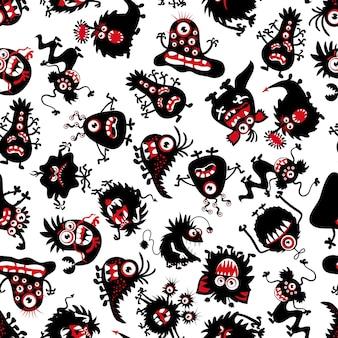 Zabawny wzór potworów dla małego chłopca. straszne stworzenia na halloween. tło z czarnym potworem z ogonem i zębami. ilustracja