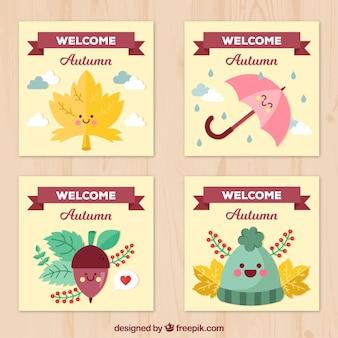 Zabawny zestaw autumnal kart z buźką