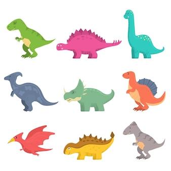 Zabawny zestaw dinozaurów kreskówka na białym tle. fantasy kreskówka kolorowe prehistoryczne szczęśliwe dinozaury dzikie zwierzęta. kolorowe drapieżniki i roślinożercy.