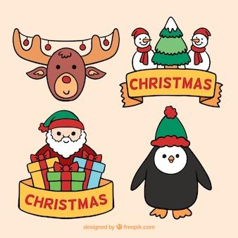 Zabawny zestaw elementów świątecznych