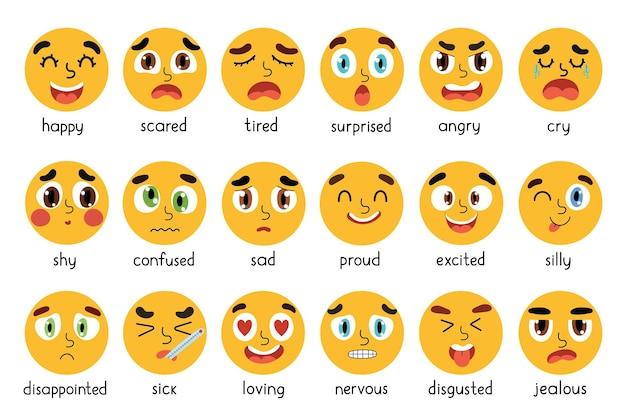 Zabawny zestaw emoji różne zestawy wyrażeń emocjonalnych kolekcja emotikonów z żółtymi okrągłymi twarzami