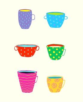 Zabawny zestaw kubków porcelanowych na herbatę lub kawę i inne napoje, kolorowe doodle.