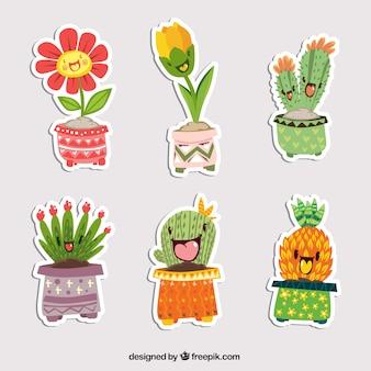 Zabawny zestaw naklejek roślinnych