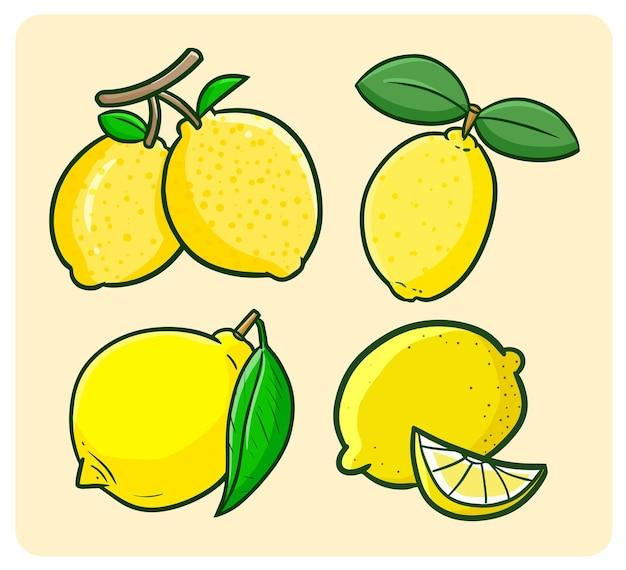 Zabawny zestaw świeżych cytryn