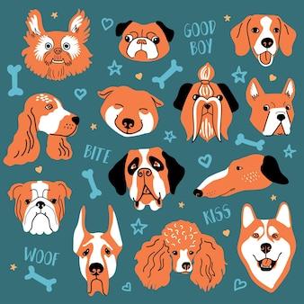 Zabawny zestaw twarzy psa. kolorowa ilustracja wektorowa