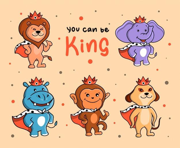 Zabawny zestaw zwierząt-królów. znaki dżungli z koronami i frazą literową