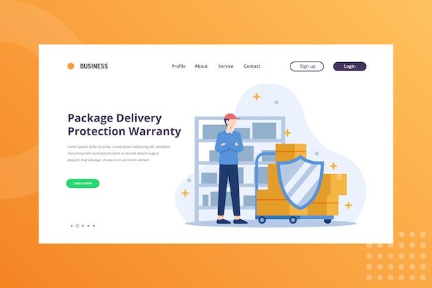 Zabezpieczenie dostawy paczki ilustracja gwarancji dla koncepcji wysyłki i dostawy na stronie docelowej