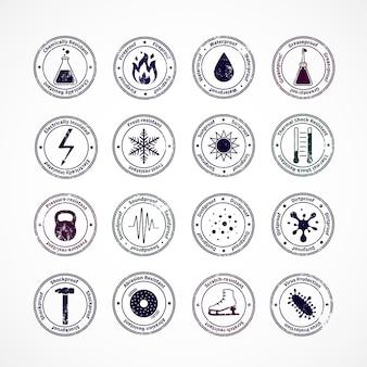 Zabezpieczone okrągłe znaczki z odpornymi na wstrząsy wodoodpornymi ognioodpornymi znakami dźwiękoszczelnymi w środku i objaśniającymi tekst wokół izolowanej ilustracji wektorowych