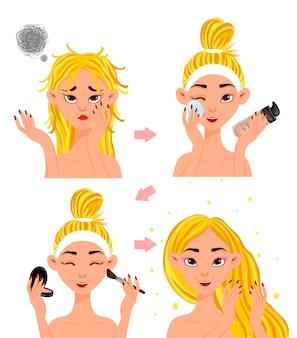 """Zabieg kosmetyczny """"przed"""" i """"po"""" kobieca postać. styl kreskówkowy. ilustracja."""