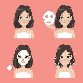 Zabieg na prześcieradło maski przez piękne kobiety.