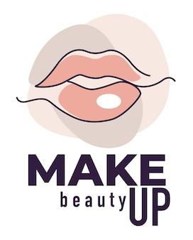 Zabiegi i zabiegi w salonie piękności dla pań, na białym tle baner z pełnymi ustami i napisem. godło dla pracowni kosmetologicznej lub profesjonalnej kosmetyczki. korzystanie z kosmetyków. wektor w stylu płaskiej