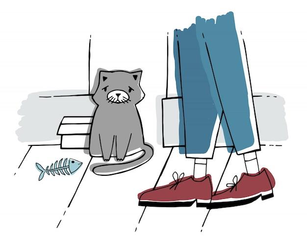 Zabłąkany kot na ulicy. bezdomny kotek o smutnym spojrzeniu. ręcznie rysowane ilustracji.