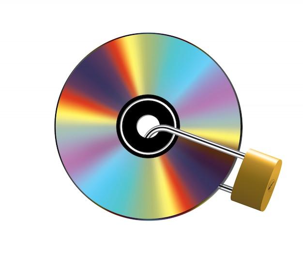 Zablokowana płyta cd na białym tle