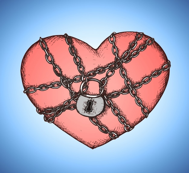 Zablokowane serce z godłem łańcucha